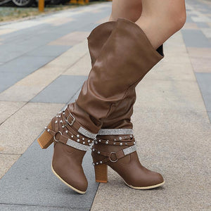 Women's Round Toe Rhinestone Studded High Heel Boots