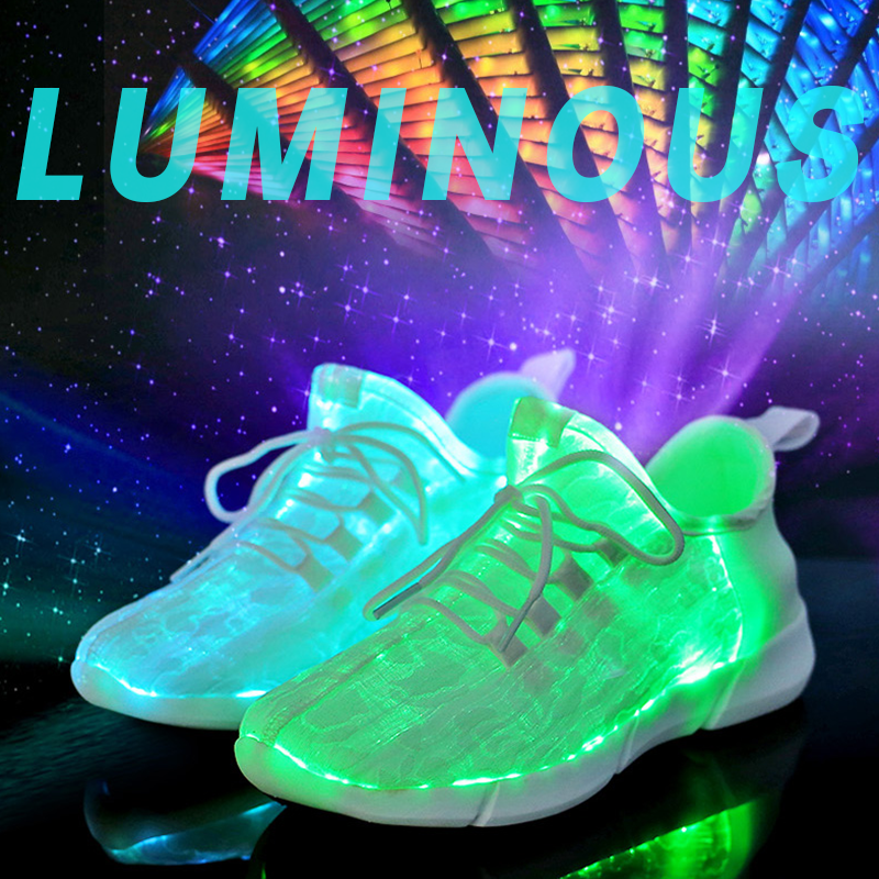 Couple Lace-Up Luminous LED Colorful Light Sneakers Glowing Shoes