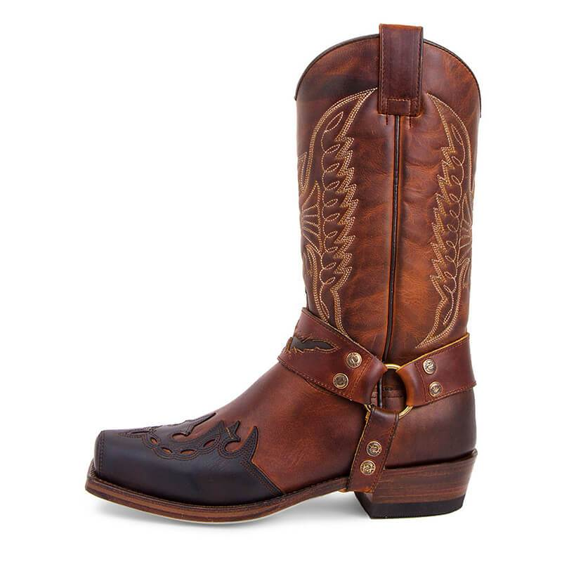 Men's Retro Carved Cowboy Boots