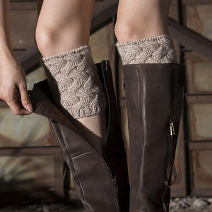 Women's Knitted Bamboo Flower Socks