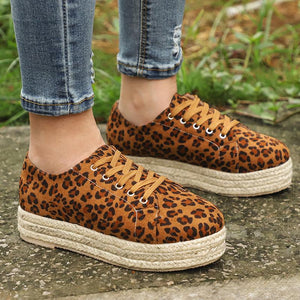 ◤2020 NEW◢ Women's Fashion Lace Up Leopard Sneakers