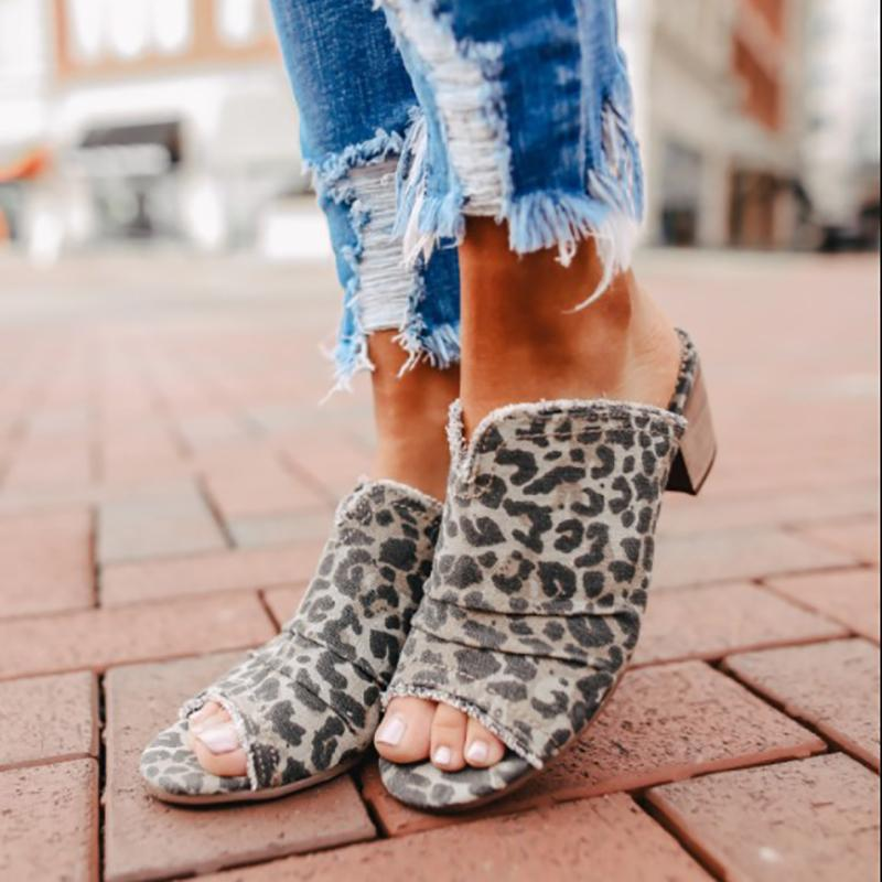 Denim Peep Toe Frayed Edges Mules