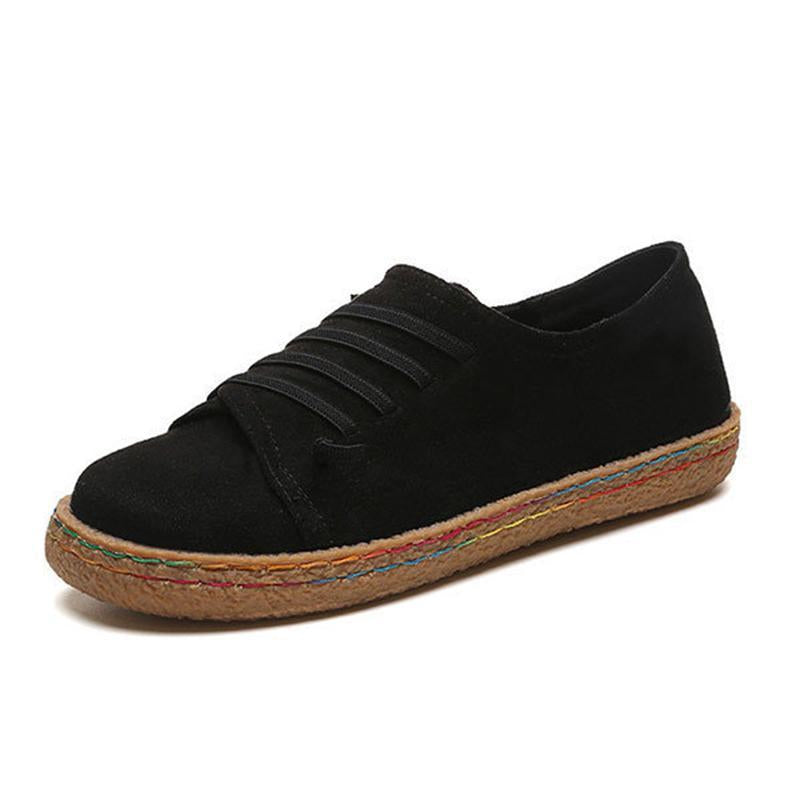 Women's Suede Lace-Up Flat Shoes