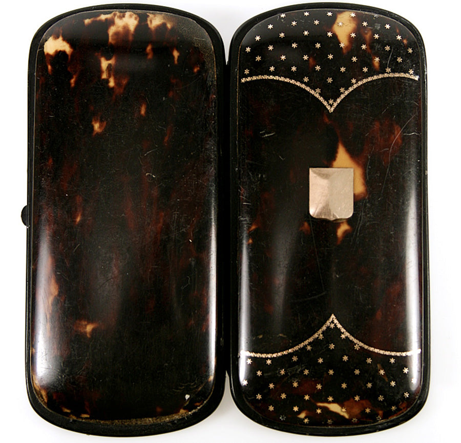 Elegant Antique French Tortoise Shell Cigar or Spectacles Case, Etui - Tortoiseshell & Pique