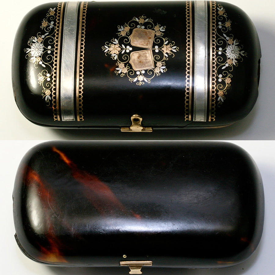 Magnificent Antique French Pique Tortoise Shell Purse, c. 1840-60s Tortoiseshell