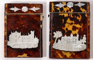 Antique English Calling Card Case, Tortoise Shell and Mother of Pearl, 2 Castles