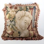 "20th Century French Woven Tapestry Sofa Pillow, Figural, Like Aubusson, 17"" Sq Plus Fringe"