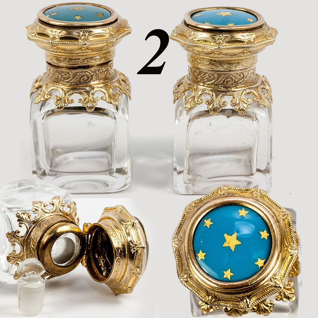 PAIR: Antique French Kiln-fired Enamel Scent Bottles or Inkwells, Celeste Blue, Gold Stars