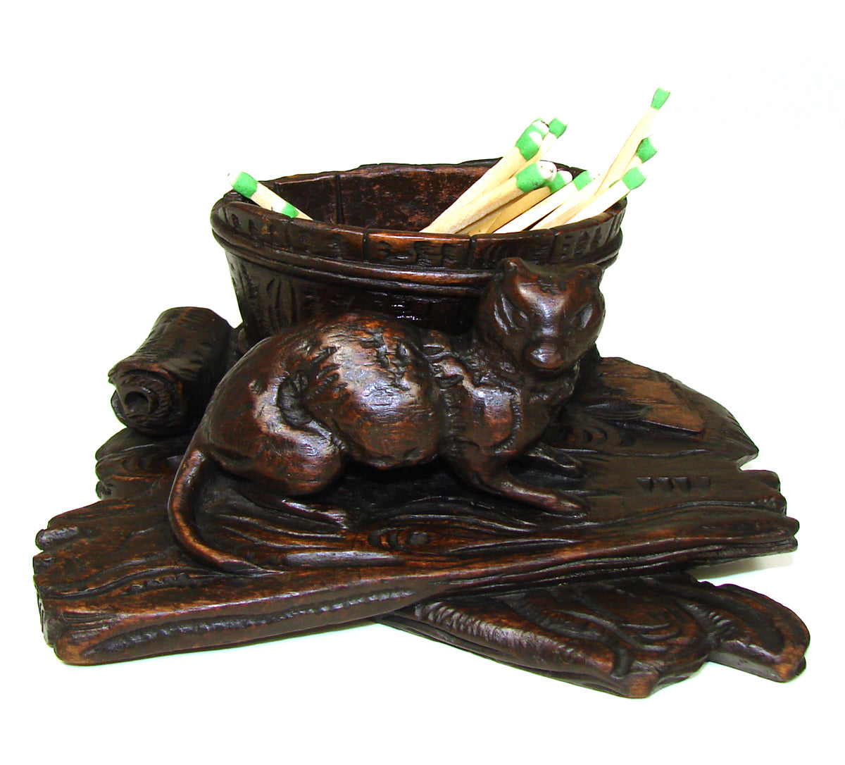 Delightful Antique Black Forest Toothpick or Match Holder, Rare CAT Figure