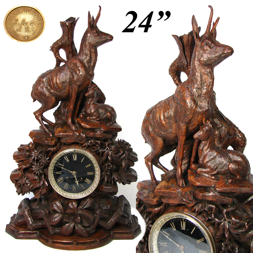 "Huge Antique Black Forest Carved 24"" Mantel Clock, Hunt Theme Chamois or Ibex & Fawn, Edelweiss"