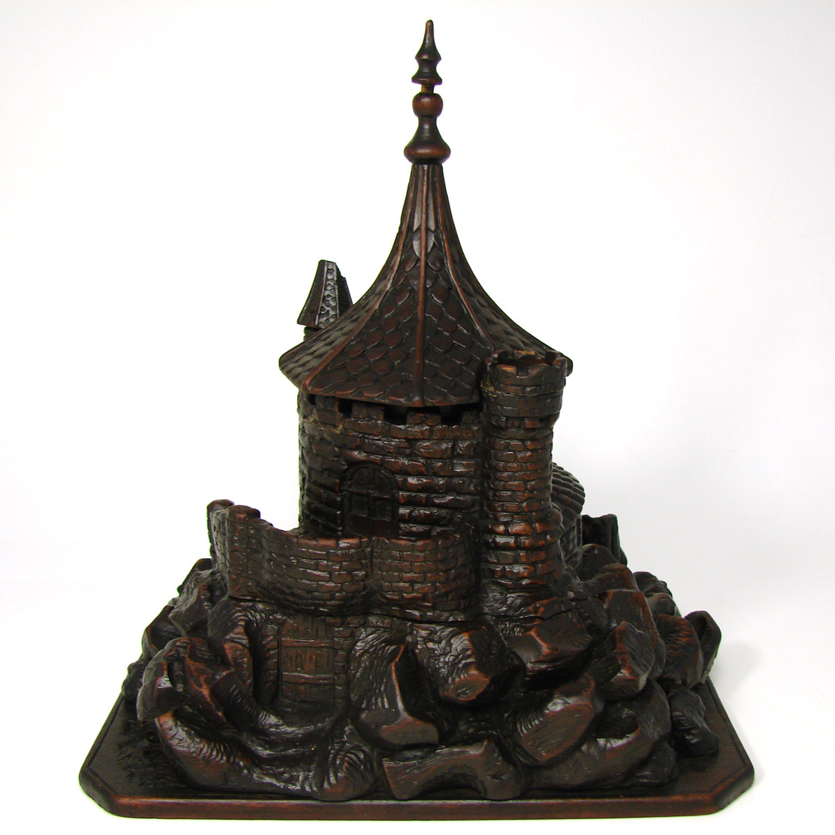 Fab Antique Black Forest Smoker's Stand, Medieval Tower or Castle, Tobacco Jar