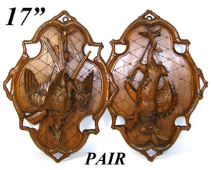"Fab Antique Black Forest 17"" Wall Plaque PAIR, ""Fruits of the Hunt"" Hare & Game Bird Figures"