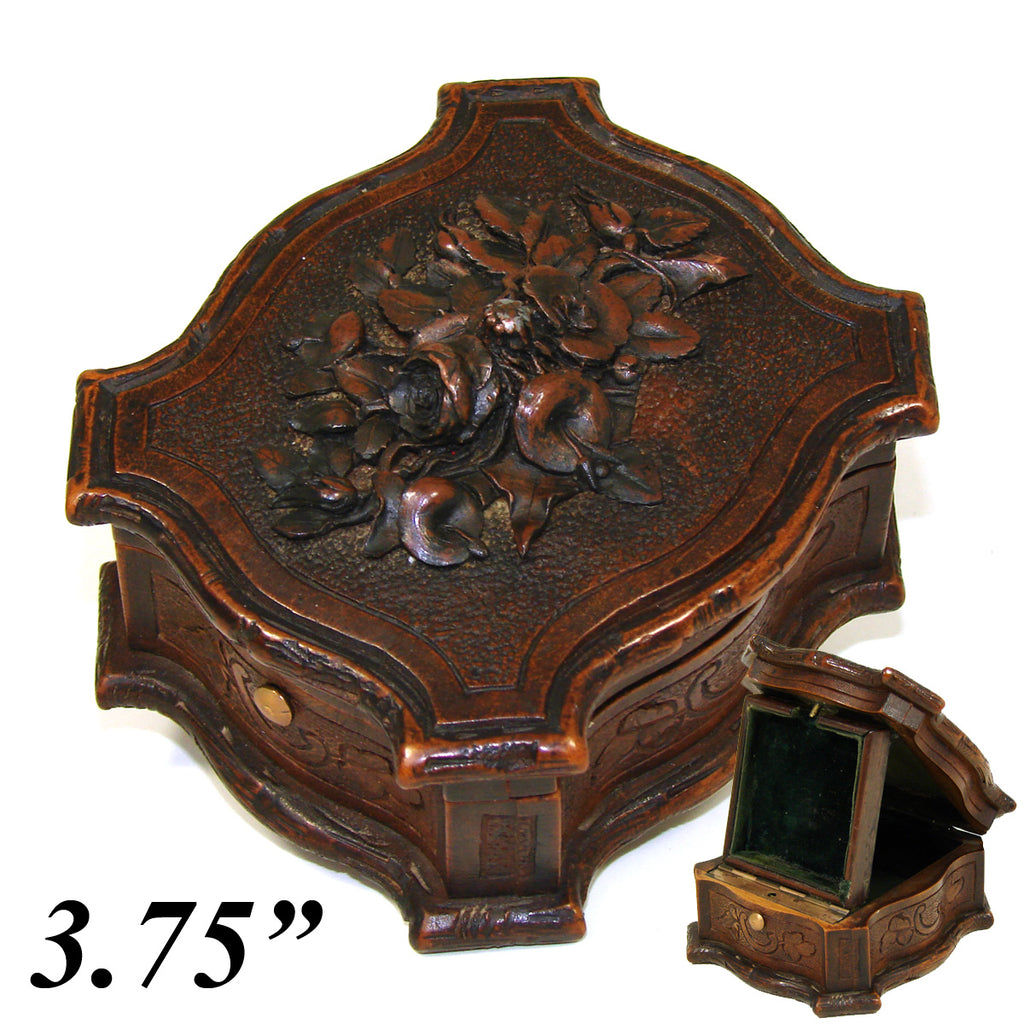 Antique HC Black Forest Pocket Watch Display Box, Elaborate Fine Floral Bouquet