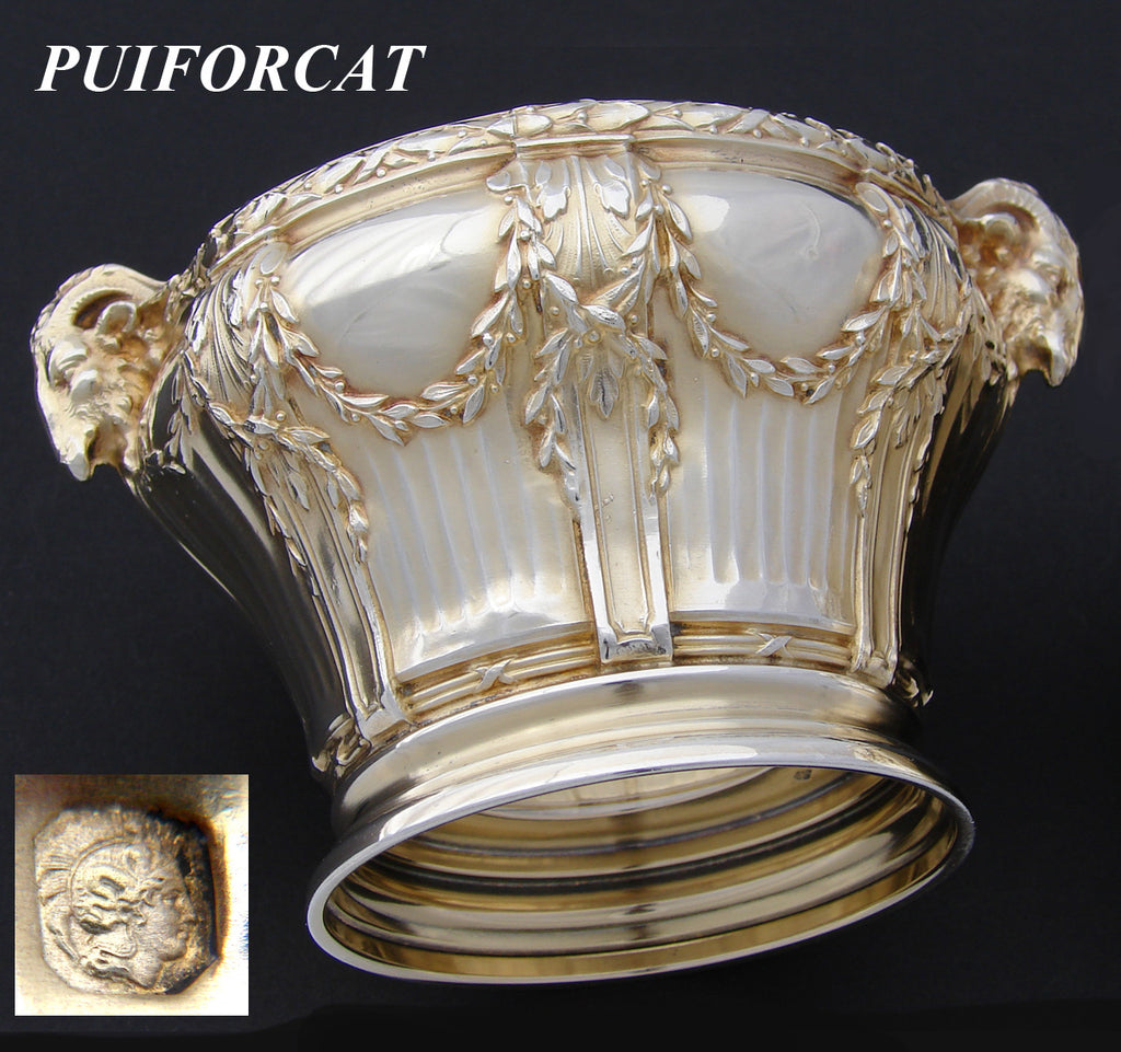 Antique French PUIFORCAT 18k Gold on Sterling Silver Vermeil Caviar Dish, Empire Style Ram Heads