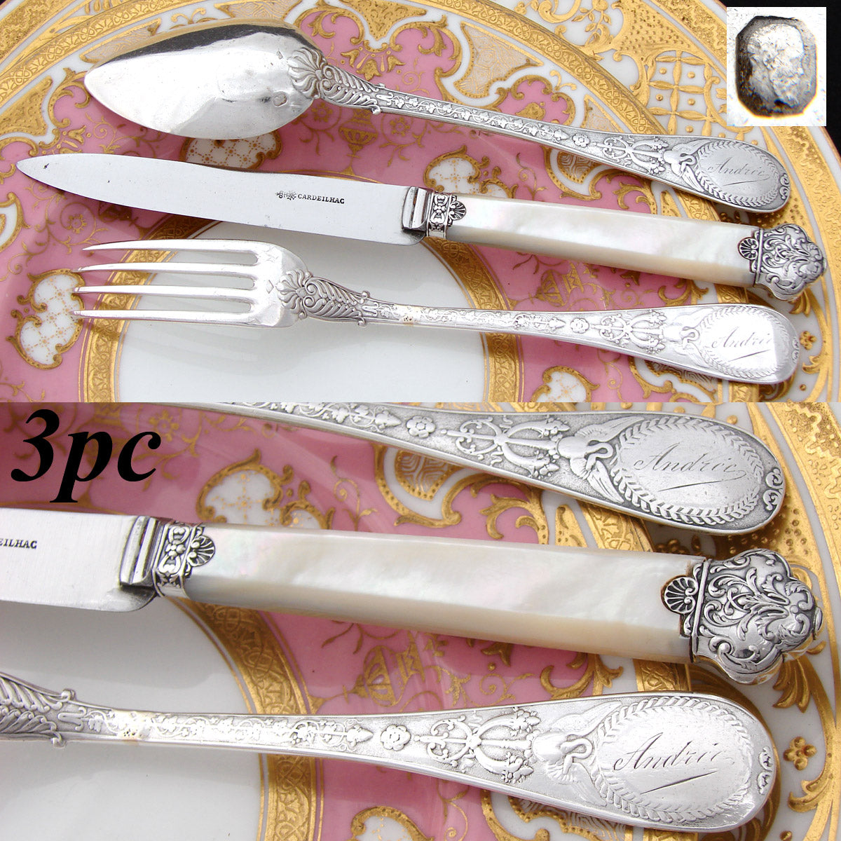 Gorgeous Antique French Sterling Silver 3pc Flatware Place Setting for One, Figural, Pearl Handled Knife