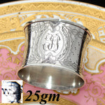 Antique French Sterling Silver Napkin Ring, Ornate Engraved Decoration, Convex Shape