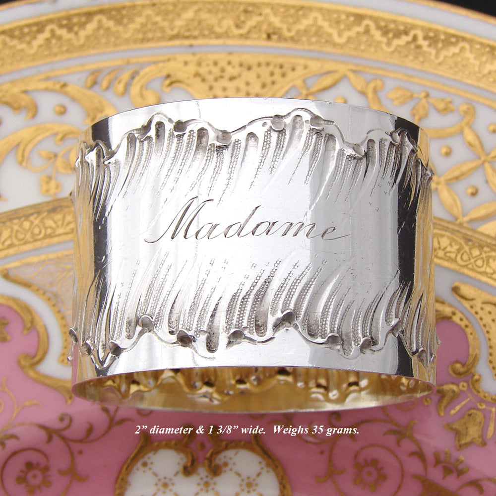 "Antique French PUIFORCAT Sterling Silver Napkin Ring, Louis XV or Rococo Pattern, ""Madame"" Inscription"