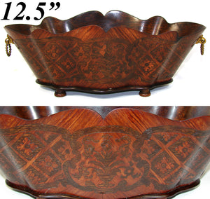 "Rare Antique French Napoleon III 12.5"" Jardiniere, Serpentine Wood with Marquetry Inlay"