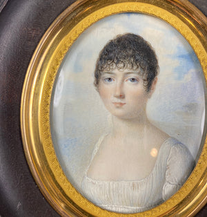 "Antique French Empire Portrait Miniature, Beautiful Woman, ""Naughty"" Gown, Guillotine Haircut"