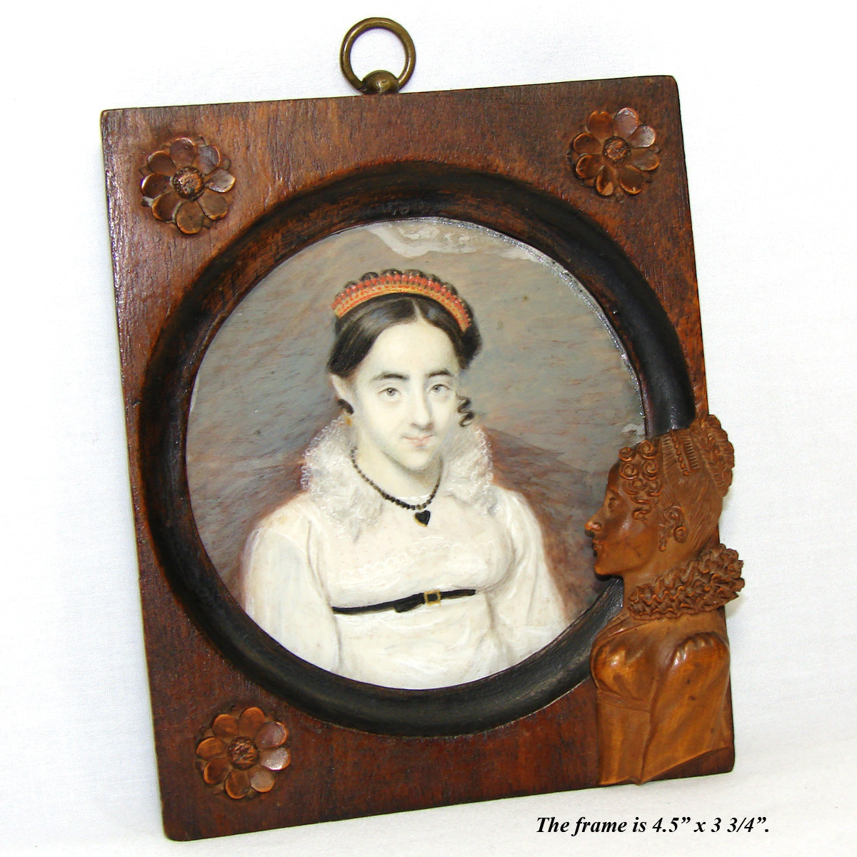 Lovely Antique French c.1810 Napoleonic Era Portrait Miniature, Red Coral Tiara, Carved Frame