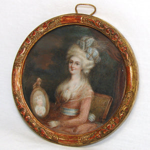 Antique French Portrait Miniature in Carved & Gilt Wood Frame, Woman Holding Portrait of a Child