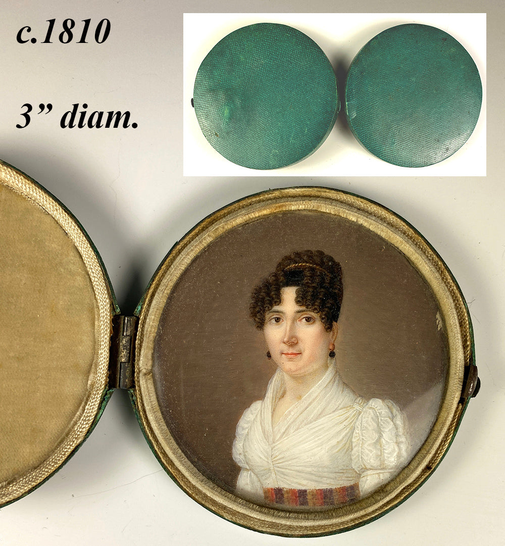 RARE c.180-1810 French Empire Portrait Miniature, a Beauty in Tiara, fine Shagreen Case,