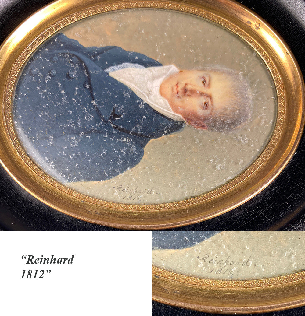 "Antique Napoleon Era Signed Portrait Miniature, c.1812, Fine Gentleman, ""Reinhard"""