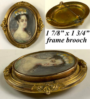 Antique French Portrait Miniature, a Lady, Set into a Brooch, 10k Face Frame