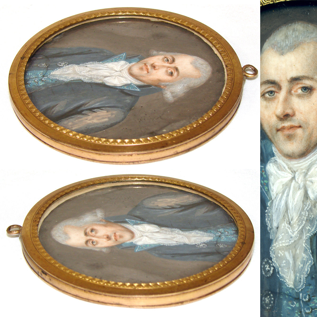 Superb Antique French Revolution Style Portrait Miniature, Gentleman, Powdered Hair