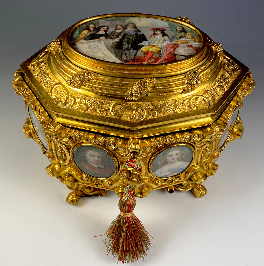 Rare Fine 9 Painting Louis XIV Subject Jewelry Casket, Box, Coffret - Portrait Miniature