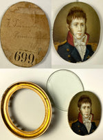 Antique French Napoleonic Wars c.1807 Portrait Miniature, Officer in Uniform