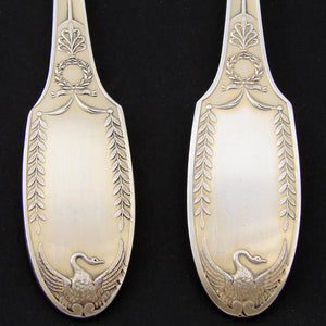 "Antique French PUIFORCAT 18k Gold on Sterling Silver ""Vermeil"" 10.75"" Salad Serving Pair, SWAN Figures"