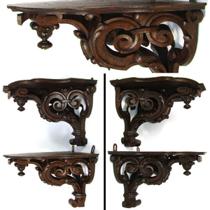 "Superb PAIR: Antique Victorian Era 13"" Carved Oak Wall or Bracket Shelf, Acanthus Accents"
