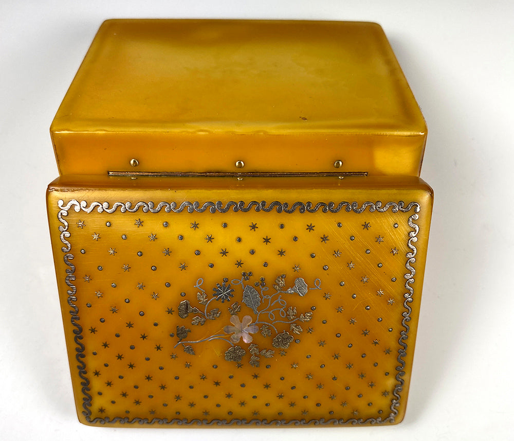 Antique French Blond Tortoise Shell and Pique Work Snuff Box, Casket, c.1770s