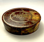 Antique Chocolate and Cognac Tortoise Shell Table Snuff, Elaborate Pique Work, c.1770s