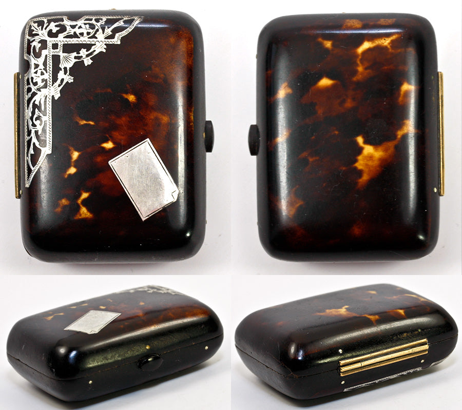 Antique Victorian Era, Napoleon III French Coin Purse in Tortoise Shell with Sterling Inlay, Tortoiseshell