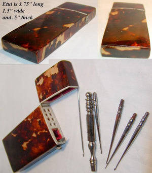 Large Sized Antique Tortoise Shell Sewing Item: Crochet Hook Tambour Case, Etui - Tortoiseshell