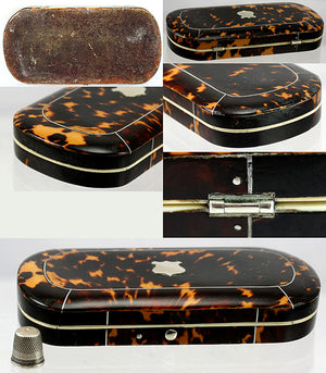 Antique Tortoise Shell Sewing Box, Etui - Sterling & Ivory Sewing Implements, Tortoiseshell Casket