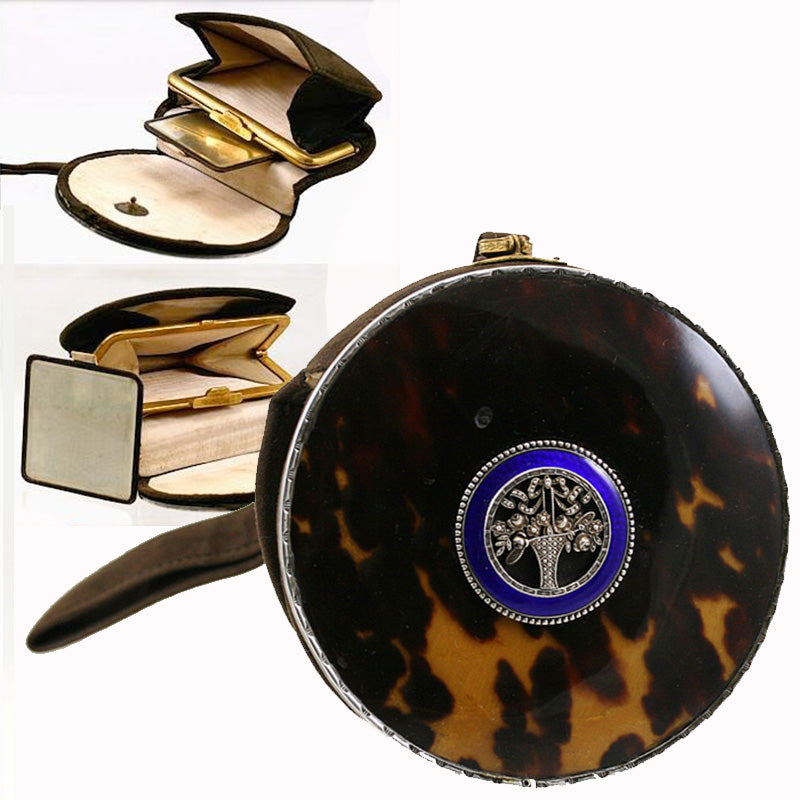 "Antique Victorian to Edwardian Austrian Nissel & Sikora Evening Purse, Tortoise Shell, Sterling Silver, Kiln-fired Enamel, 4"" Diameter"