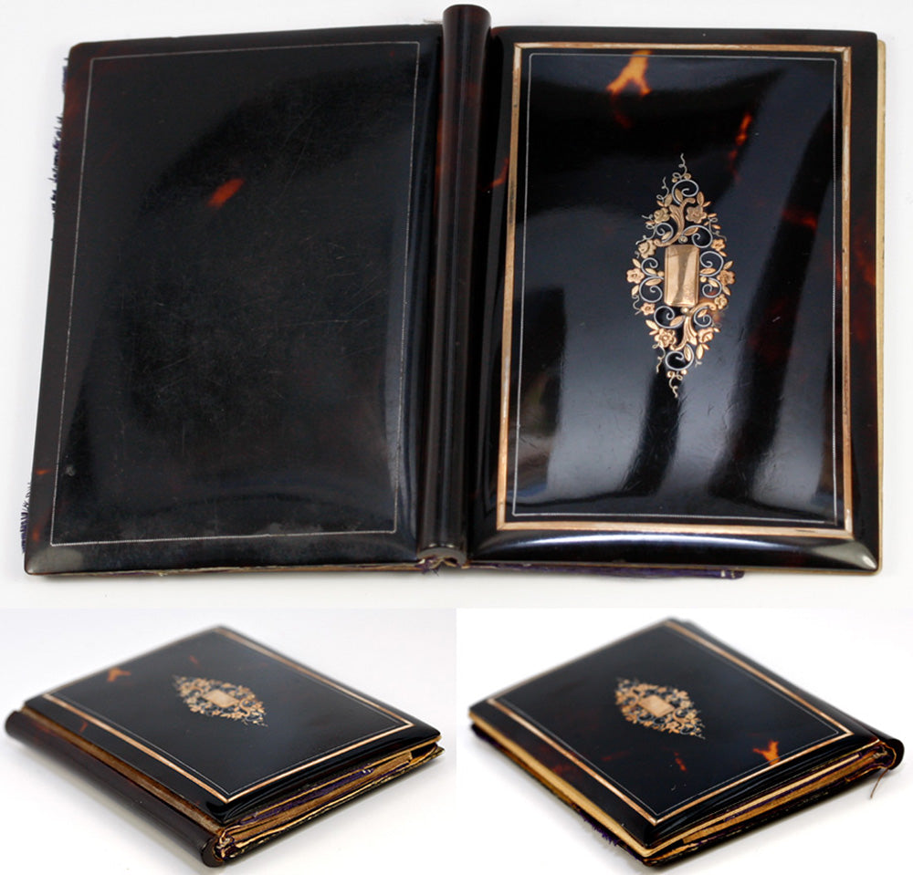 Antique French Aide d' Memoire in Fine Tortoise Shell, c. 1850 - Tortoiseshell