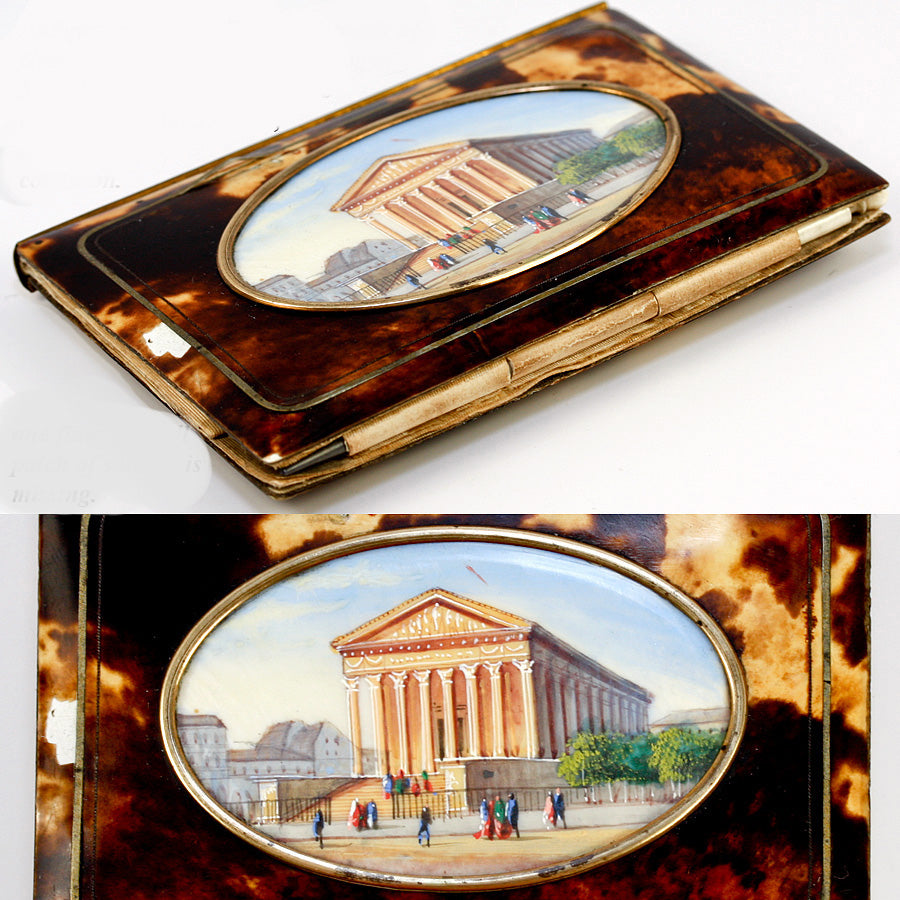 Antique French Grand Tour Souvenir Card Case, Tortoise Shell Necessaire Tortoiseshell