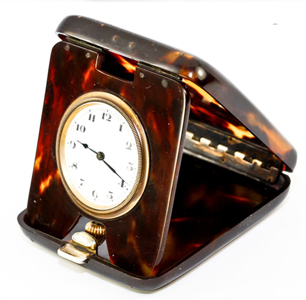 Antique 19th Century Swiss Made Clockworks, Tortoise Shell Travel Case, Clock in Tortoiseshell