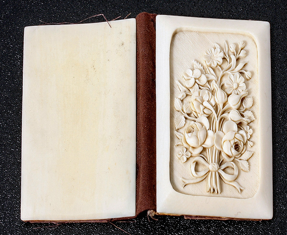 Antique Dieppe, France, Carved Ivory Aide d' Memoire, Nécessaire with Stylus. Floral