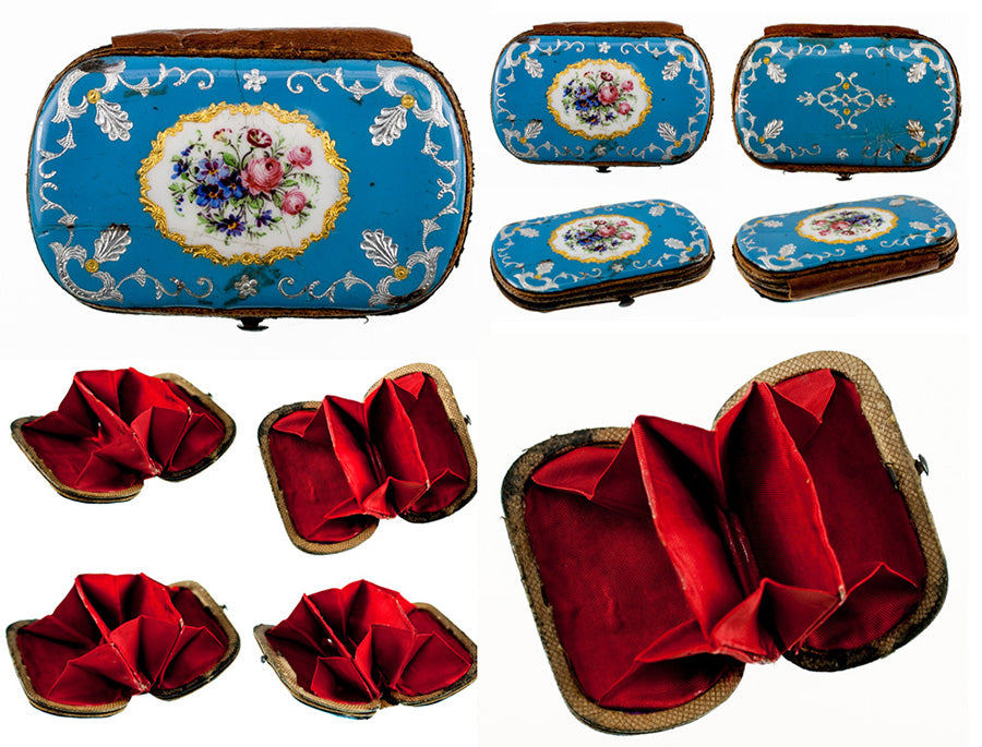 Antique French or Viennese Kiln-fired Enamel Coin Purse, Celeste Blue & Flowers