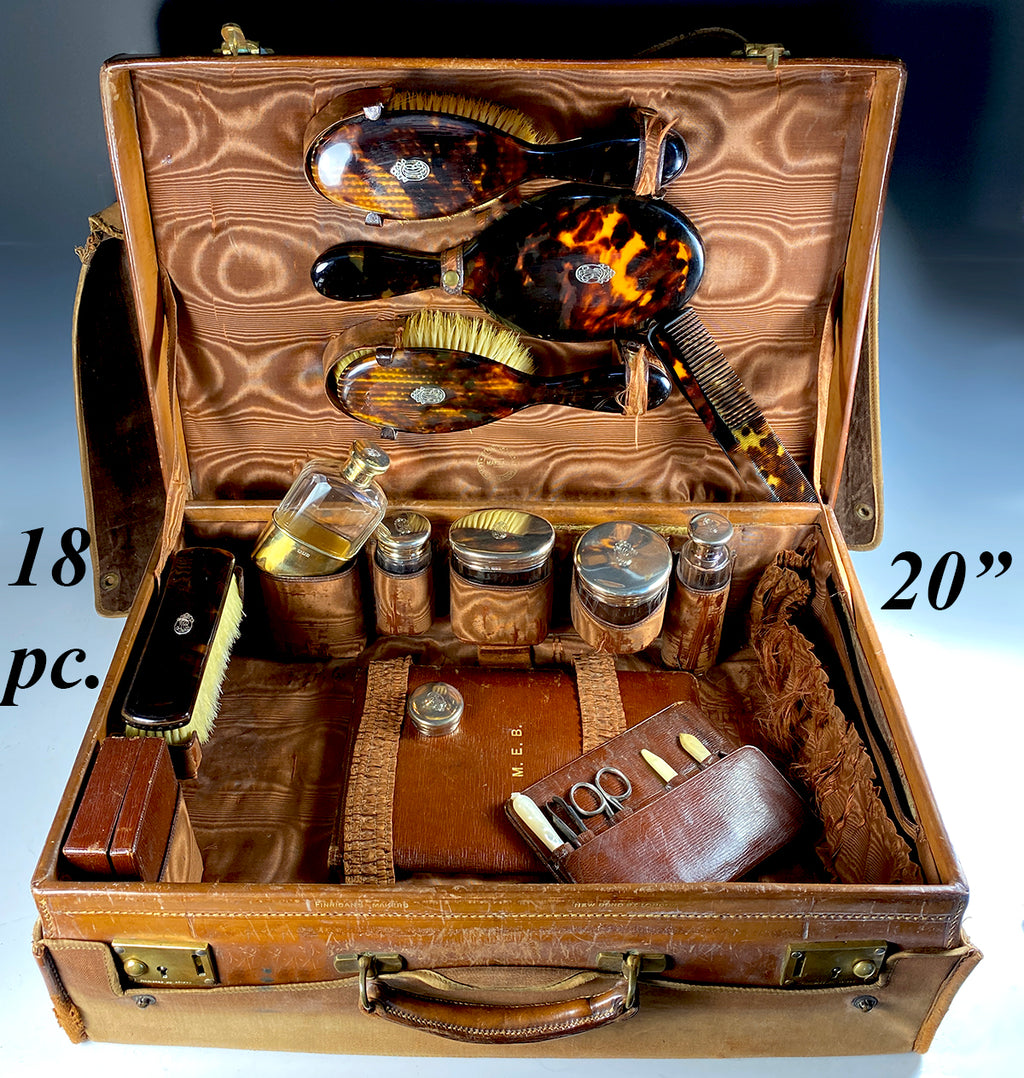 Superb RARE c.1901 English Travel Valet, Valise, 19 Pc Vanity in Tortoise Shell, Sterling Silver, Leather