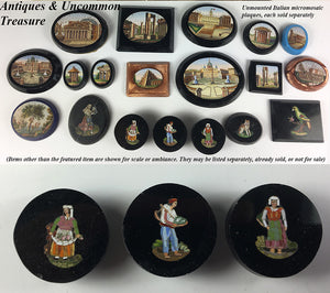 Antique Set of 3 Figural Micro Mosaic Buttons, Victorian Grand Tour, 2 Women, 1 Man