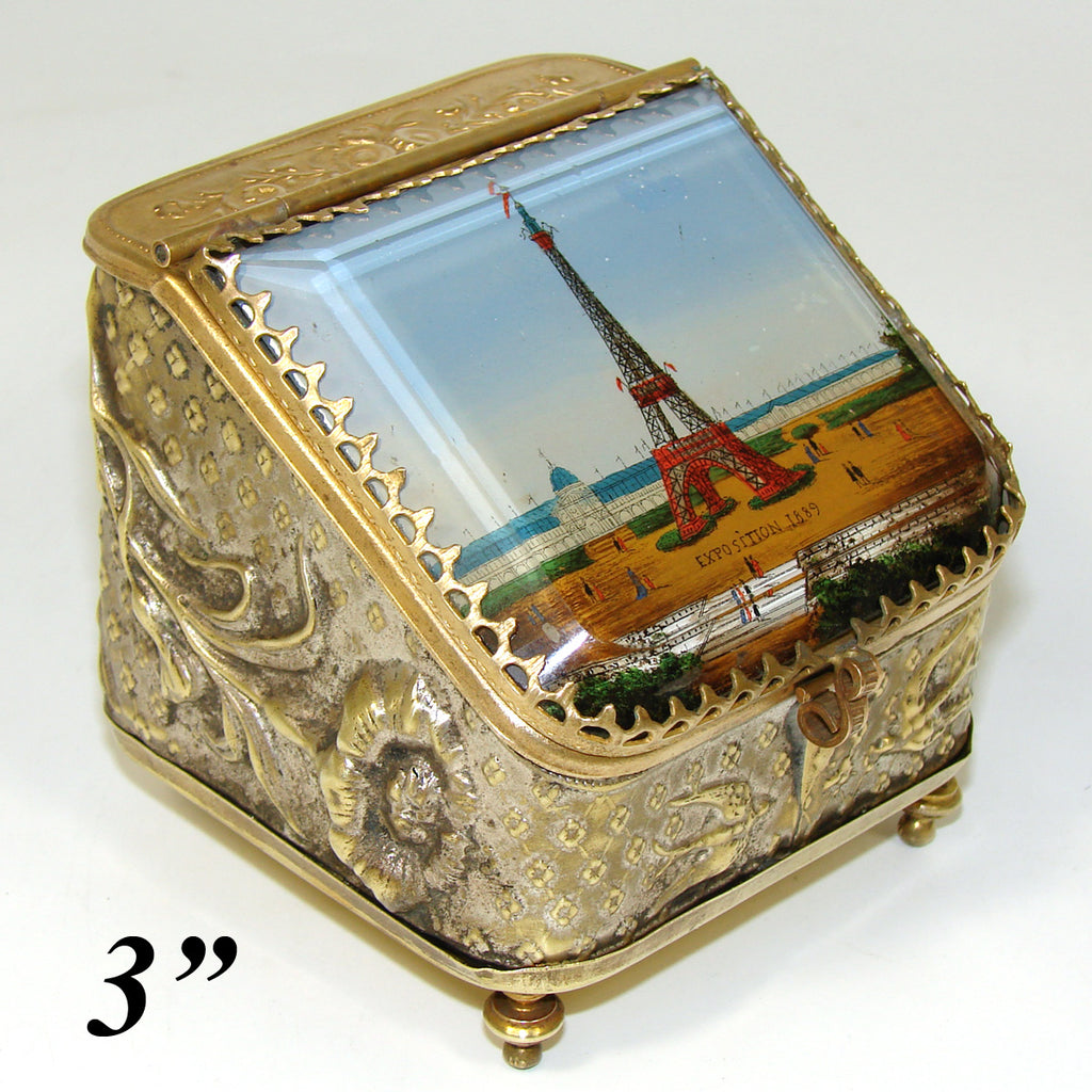 Antique French Pocket Watch Casket, Eglomise 1889 Paris World Expo, Eiffel Tower