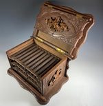 Antique Swiss Black Forest HC Cigar Cabinet, Chest, Box, 3 Trays for 30 Cigars