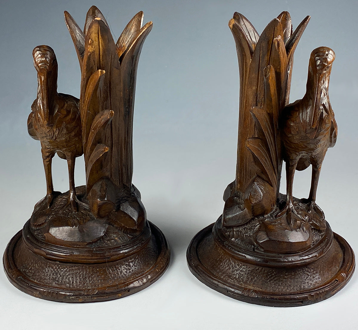 Antique Swiss HC Black Forest Epergne or Candle Stands, Pair of Crane Figures