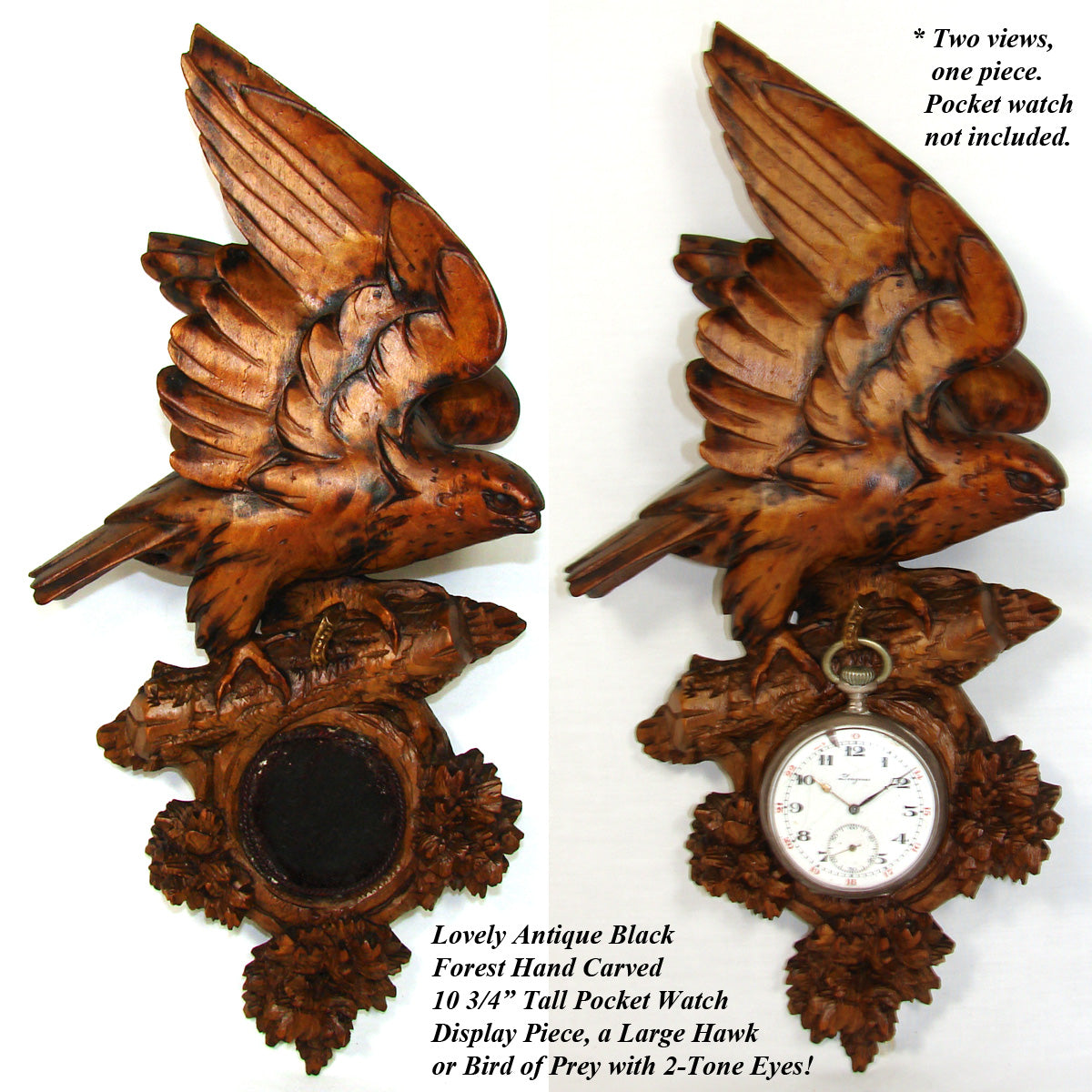 "Antique Black Forest Carved 10.75"" Pocket Watch Display, Hawk or Bird of Prey with Glass Eyes"